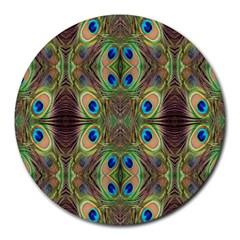 Beautiful Peacock Feathers Seamless Abstract Wallpaper Background Round Mousepads by Simbadda