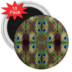 Beautiful Peacock Feathers Seamless Abstract Wallpaper Background 3  Magnets (10 Pack)
