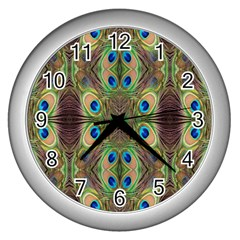 Beautiful Peacock Feathers Seamless Abstract Wallpaper Background Wall Clocks (silver)