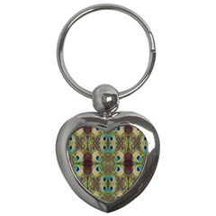 Beautiful Peacock Feathers Seamless Abstract Wallpaper Background Key Chains (heart)  by Simbadda