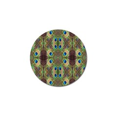 Beautiful Peacock Feathers Seamless Abstract Wallpaper Background Golf Ball Marker by Simbadda
