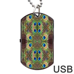 Beautiful Peacock Feathers Seamless Abstract Wallpaper Background Dog Tag Usb Flash (two Sides) by Simbadda