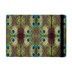 Beautiful Peacock Feathers Seamless Abstract Wallpaper Background Apple Ipad Mini Flip Case by Simbadda