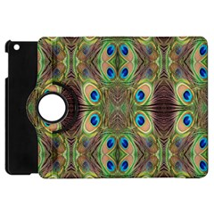 Beautiful Peacock Feathers Seamless Abstract Wallpaper Background Apple Ipad Mini Flip 360 Case by Simbadda