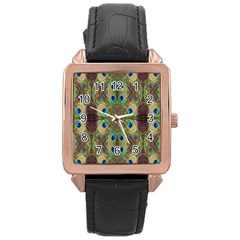 Beautiful Peacock Feathers Seamless Abstract Wallpaper Background Rose Gold Leather Watch