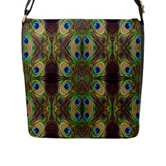 Beautiful Peacock Feathers Seamless Abstract Wallpaper Background Flap Messenger Bag (l)  by Simbadda