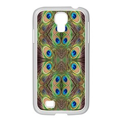 Beautiful Peacock Feathers Seamless Abstract Wallpaper Background Samsung Galaxy S4 I9500/ I9505 Case (white) by Simbadda