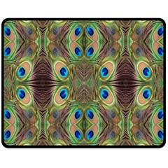 Beautiful Peacock Feathers Seamless Abstract Wallpaper Background Double Sided Fleece Blanket (medium)  by Simbadda