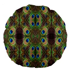 Beautiful Peacock Feathers Seamless Abstract Wallpaper Background Large 18  Premium Flano Round Cushions