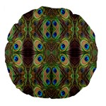 Beautiful Peacock Feathers Seamless Abstract Wallpaper Background Large 18  Premium Flano Round Cushions Back