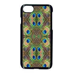 Beautiful Peacock Feathers Seamless Abstract Wallpaper Background Apple Iphone 7 Seamless Case (black)