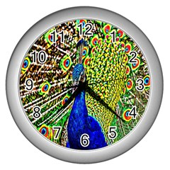 Graphic Painting Of A Peacock Wall Clocks (silver)