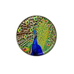 Graphic Painting Of A Peacock Hat Clip Ball Marker (10 Pack)