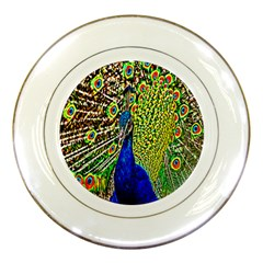 Graphic Painting Of A Peacock Porcelain Plates by Simbadda