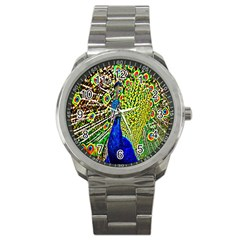 Graphic Painting Of A Peacock Sport Metal Watch by Simbadda