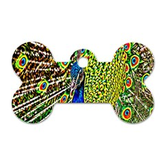 Graphic Painting Of A Peacock Dog Tag Bone (one Side) by Simbadda