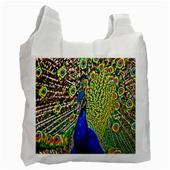 Graphic Painting Of A Peacock Recycle Bag (one Side) by Simbadda