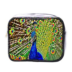 Graphic Painting Of A Peacock Mini Toiletries Bags by Simbadda