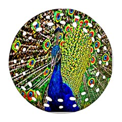 Graphic Painting Of A Peacock Ornament (round Filigree) by Simbadda