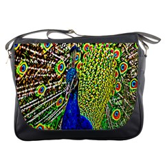 Graphic Painting Of A Peacock Messenger Bags by Simbadda