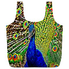 Graphic Painting Of A Peacock Full Print Recycle Bags (l)  by Simbadda