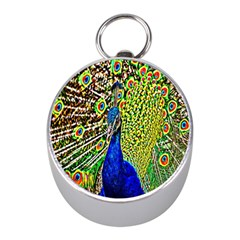 Graphic Painting Of A Peacock Mini Silver Compasses by Simbadda
