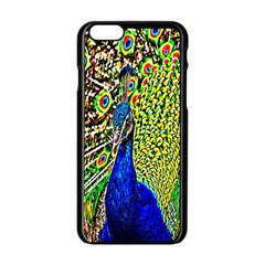Graphic Painting Of A Peacock Apple Iphone 6/6s Black Enamel Case by Simbadda