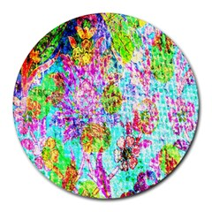 Bright Rainbow Background Round Mousepads by Simbadda