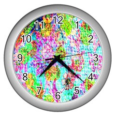Bright Rainbow Background Wall Clocks (silver)  by Simbadda