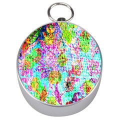 Bright Rainbow Background Silver Compasses by Simbadda
