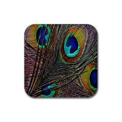 Peacock Feathers Rubber Square Coaster (4 Pack)  by Simbadda