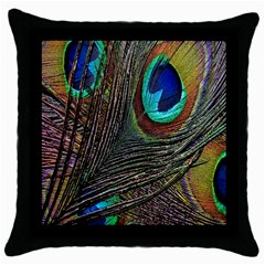Peacock Feathers Throw Pillow Case (black) by Simbadda