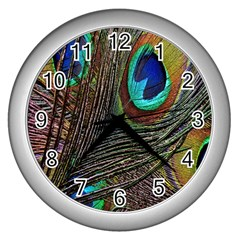 Peacock Feathers Wall Clocks (silver)