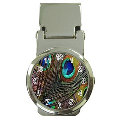 Peacock Feathers Money Clip Watches by Simbadda