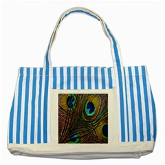 Peacock Feathers Striped Blue Tote Bag by Simbadda
