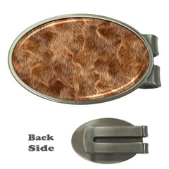 Brown Seamless Animal Fur Pattern Money Clips (oval)  by Simbadda