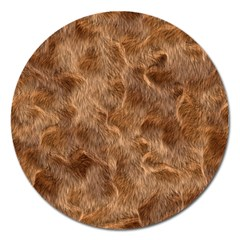 Brown Seamless Animal Fur Pattern Magnet 5  (round) by Simbadda
