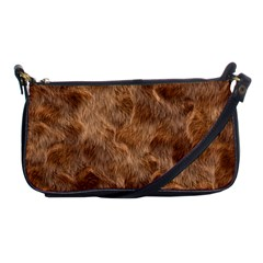 Brown Seamless Animal Fur Pattern Shoulder Clutch Bags by Simbadda