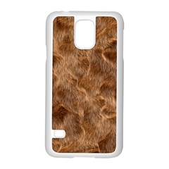 Brown Seamless Animal Fur Pattern Samsung Galaxy S5 Case (white)