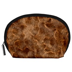 Brown Seamless Animal Fur Pattern Accessory Pouches (large)  by Simbadda