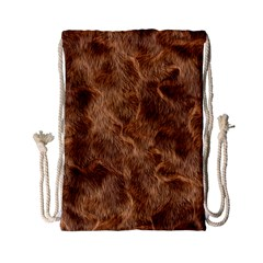 Brown Seamless Animal Fur Pattern Drawstring Bag (small) by Simbadda