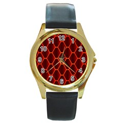 Snake Abstract Pattern Round Gold Metal Watch by Simbadda