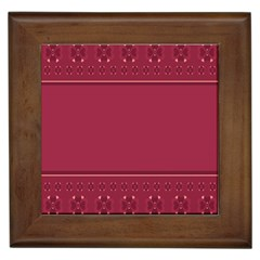 Heart Pattern Background In Dark Pink Framed Tiles by Simbadda