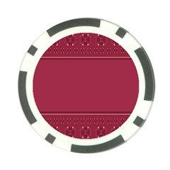 Heart Pattern Background In Dark Pink Poker Chip Card Guard (10 Pack)