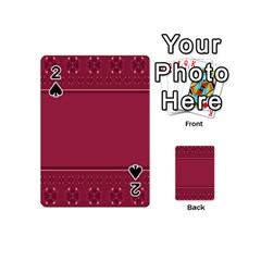 Heart Pattern Background In Dark Pink Playing Cards 54 (mini)  by Simbadda