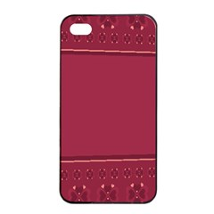 Heart Pattern Background In Dark Pink Apple Iphone 4/4s Seamless Case (black) by Simbadda