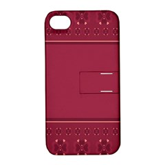 Heart Pattern Background In Dark Pink Apple Iphone 4/4s Hardshell Case With Stand