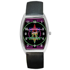 Drawing Of A Color Mandala On Black Barrel Style Metal Watch