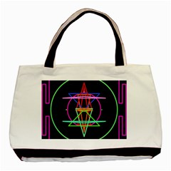 Drawing Of A Color Mandala On Black Basic Tote Bag by Simbadda