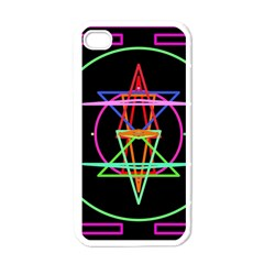 Drawing Of A Color Mandala On Black Apple Iphone 4 Case (white) by Simbadda